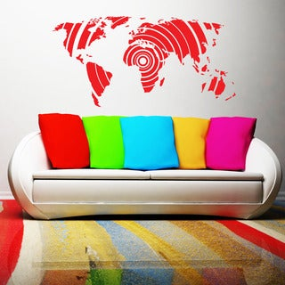 Retro World Map Modern Vinyl Wall Art