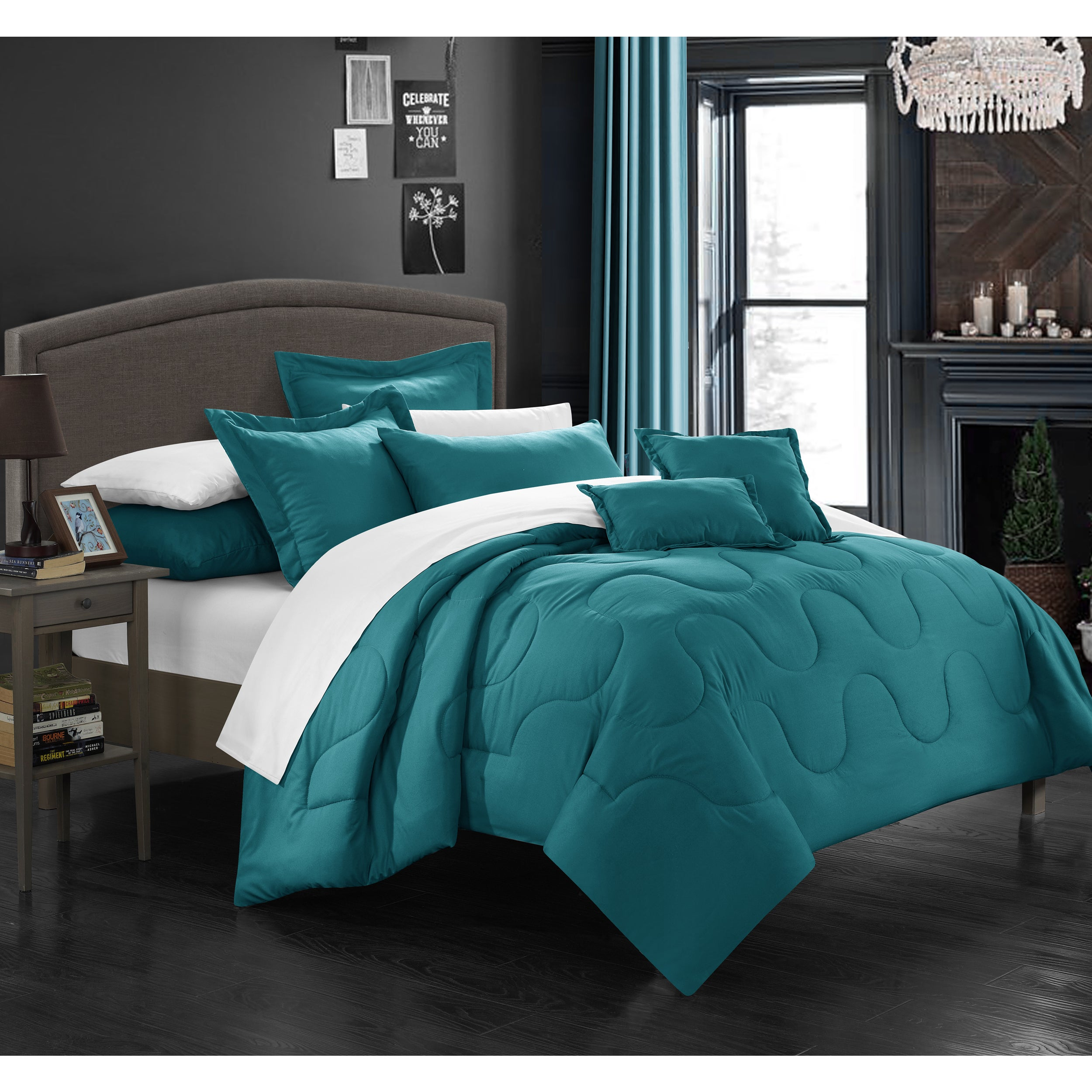 Chic Home Direllei Teal Down Alternative 7-piece Comforter Set