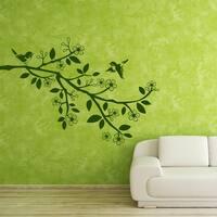Sparrow Branch Floral Vinyl Wall Art