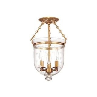 Hudson Valley Hampton 3-light 15 inch Semi Flush, Brass / Star Cut