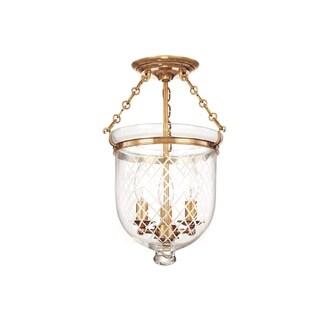 Hudson Valley Hampton 3-light 15 inch Semi Flush, Brass / Diamond Cut