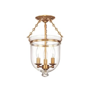 Hudson Valley Hampton 3-light 15 inch Semi Flush, Brass