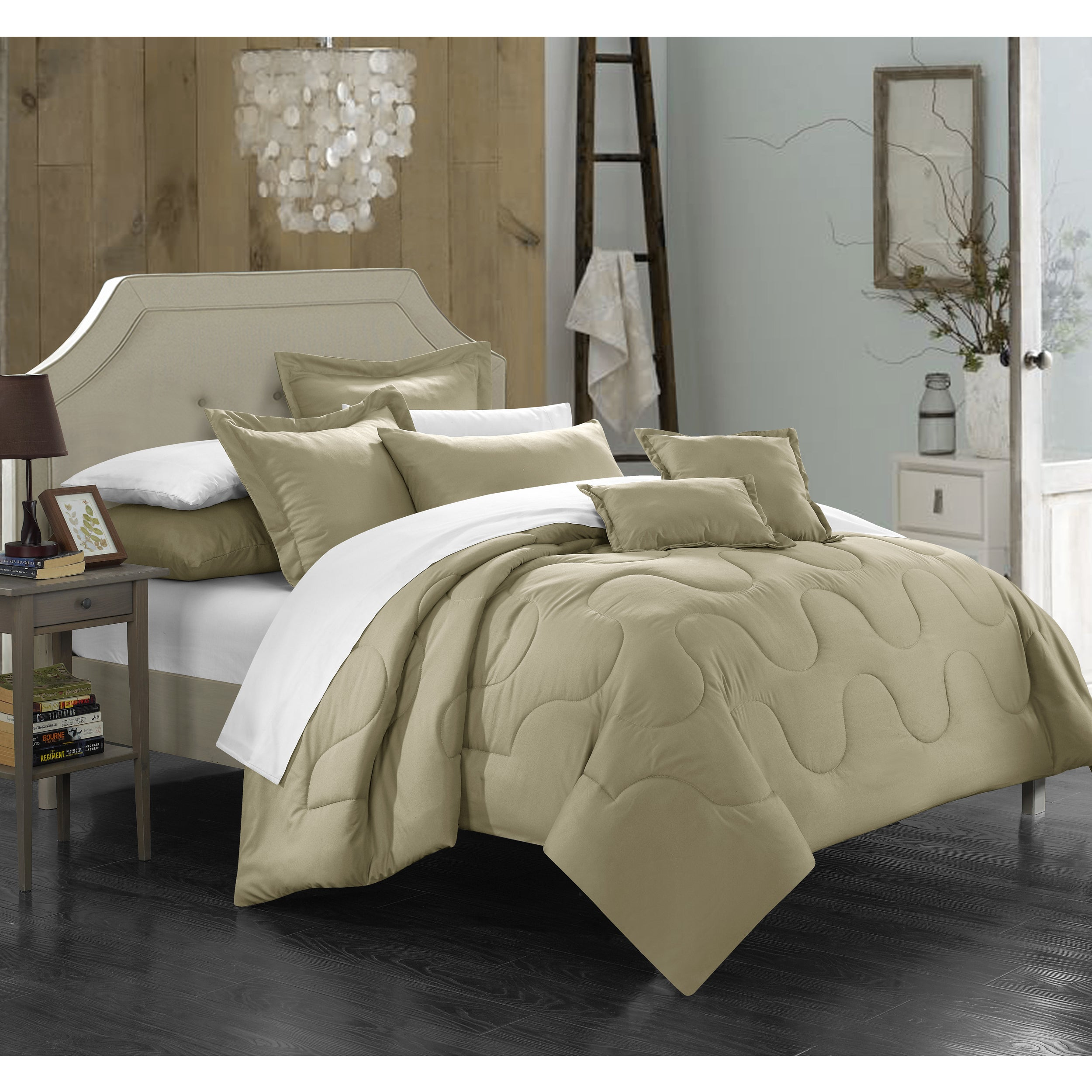 Chic Home Direllei Taupe Down Alternative 7-piece Comforter Set