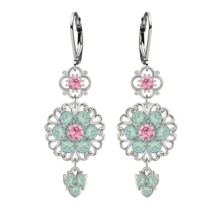 Lucia Costin Sterling Silver Light Pink/ Mint Blue Crystal Earrings