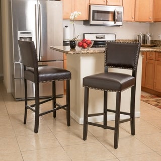 Owen 30-inch Bonded Leather Backed Barstool (Set of 2) by Christopher Knight Home