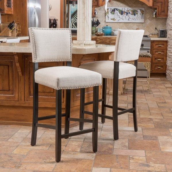 Owen 30 Inch Fabric Backed Bar Stool By Christopher Knight Home Set Of 2