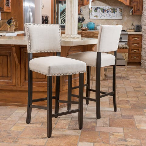 Mayfield Contemporary Linen Barstool (Set of 2) by Christopher Knight Home