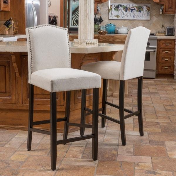 Christopher Knight Home Logan Fabric Backed Barstool Set