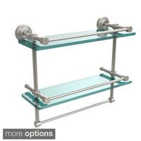 Waverly Place 16-inch Gallery Double Glass Shelf with Towel Bar