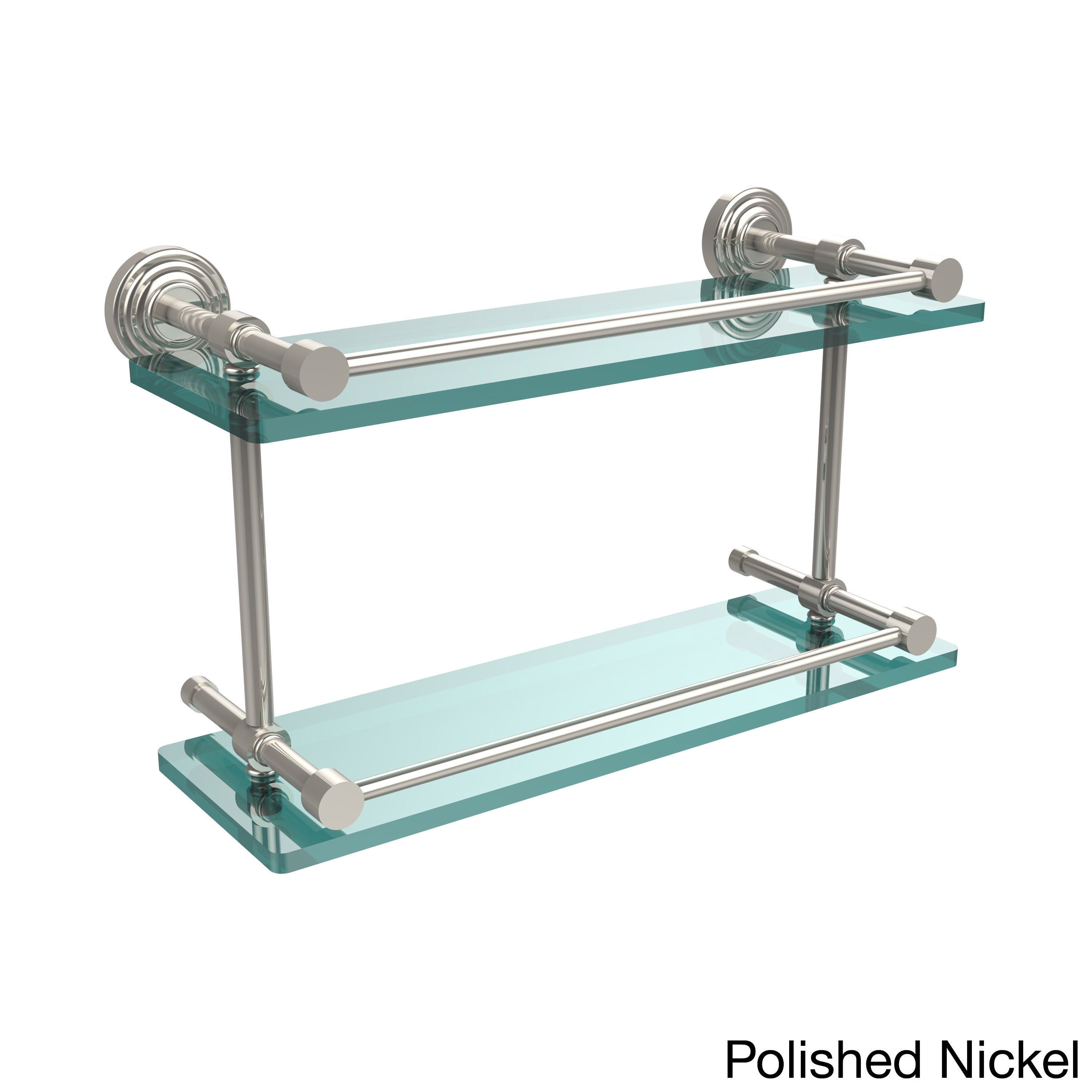 Waverly Place 16-inch Double Glass Shelf with Gallery Rail | eBay