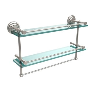Que New Collection 22-inch Gallery Double Glass Shelf with Towel Bar