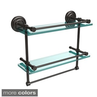 """16-inch Gallery Double Glass Shelf with Towel Bar - 16""""L"""