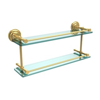Que New 22-inch Double Glass Shelf with Gallery Rail