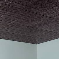 Fasade Traditional Style #1 Smoked Pewter 2-foot x 2-foot Lay-in Ceiling Tile