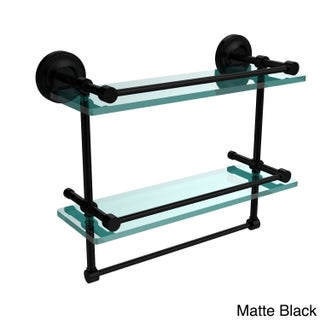Gallery Double Glass Shelf with Towel Bar (Option: Matte Black)