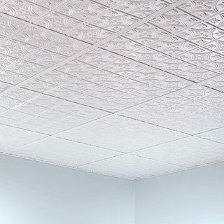 Fasade Traditional Style #1 Gloss White 2-foot x 2-foot Lay-in Ceiling Tile