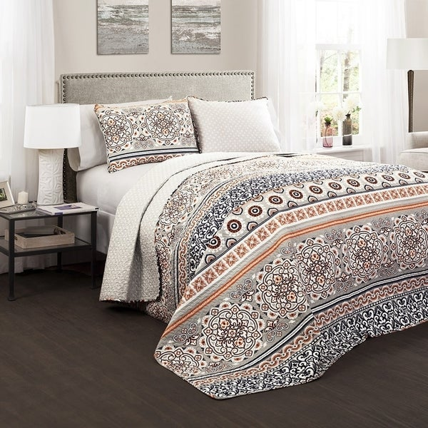 The Curated Nomad La Boheme Boho Stripe 3-piece Quilt Set. Opens flyout.