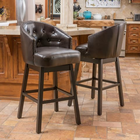 Ogden Leather Swivel Barstool (Set of 2) by Christopher Knight Home
