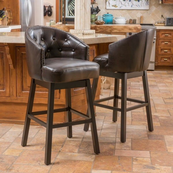 Ogden Leather Swivel Barstool (Set of 2) by Christopher Knight Home. Opens flyout.