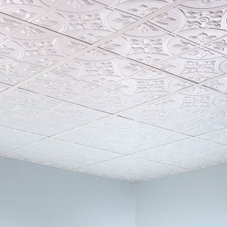 Fasade Traditional Style #2 Gloss White 2-foot x 2-foot Lay-in Ceiling Tile