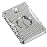 Caseti Dion Silver Carbon Fiber Double Guillotine Cigar Cutter