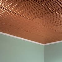 Fasade Dunes Horizontal Polished Copper 2-foot x 2-foot Glue-up Ceiling Tile