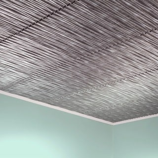 Fasade Dunes Horizontal Crosshatch Silver 2-foot x 2-foot Glue-up Ceiling Tile
