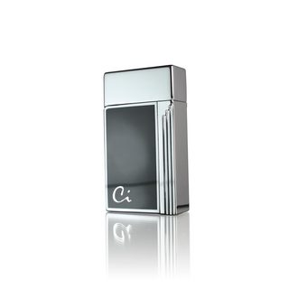 Caseti Clayworth Single Jet Flame Cigar Lighter - Chrome Plated & Black Lacquer (Ships Degassed)