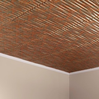 Fasade Dunes Horizontal Copper Fantasy 2-foot x 2-foot Glue-up Ceiling Tile