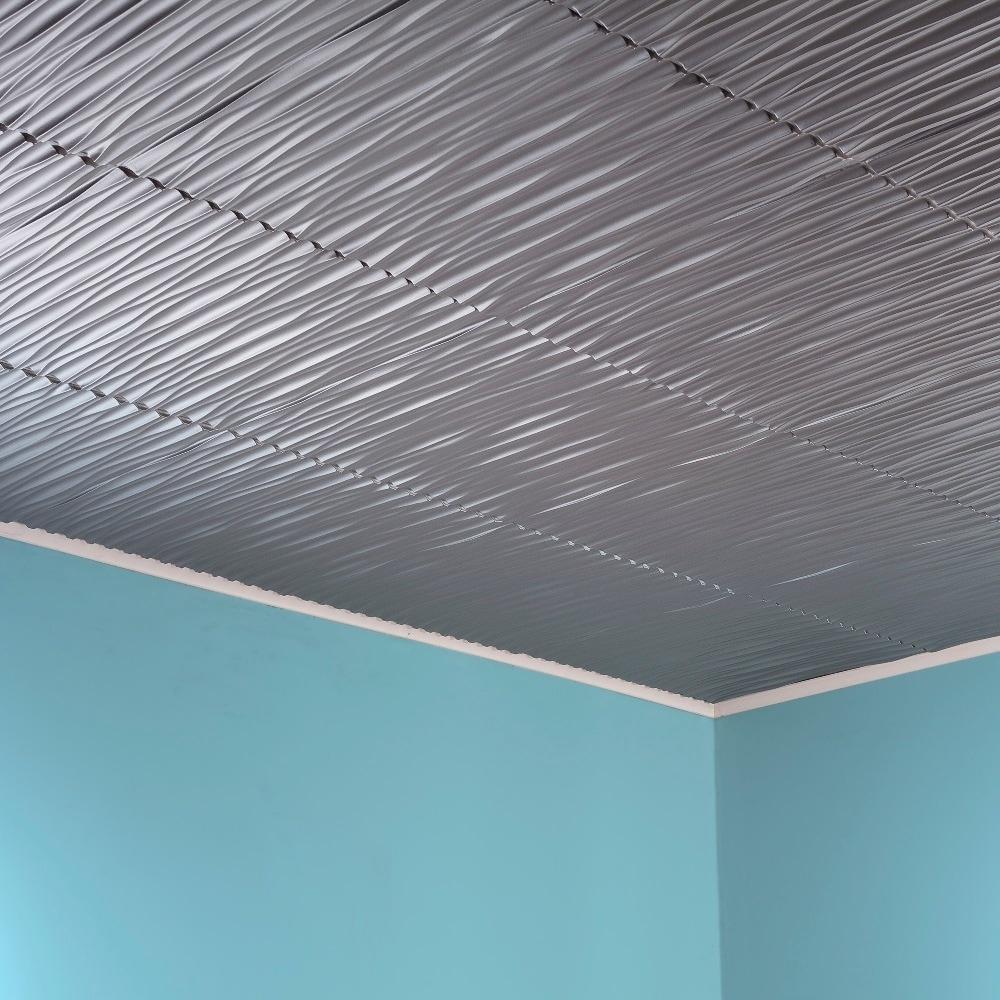 Fasade Dunes Horizontal Argent Silver 2-foot x 2-foot Glu...