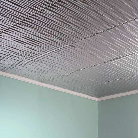 Fasade Dunes Horizontal Brushed Aluminum 2-foot x 2-foot Glue-up Ceiling Tile
