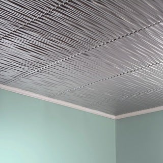 Fasade Dunes Horizontal Brushed Aluminum 2-foot x 2-foot Glue-up Ceiling Tile (2 options available)