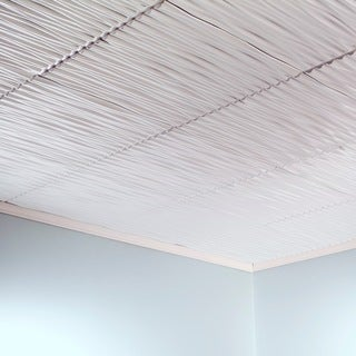 Fasade Dunes Horizontal Gloss White 2-foot x 2-foot Glue-up Ceiling Tile