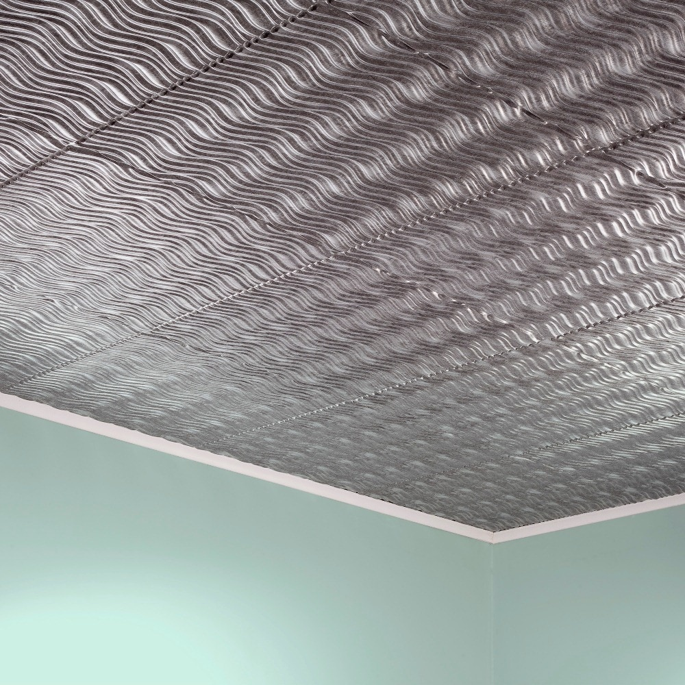 Fasade Current Horizontal Crosshatch Silver 2-foot x 2-foot Glue-up Ceiling Tile (Sample)