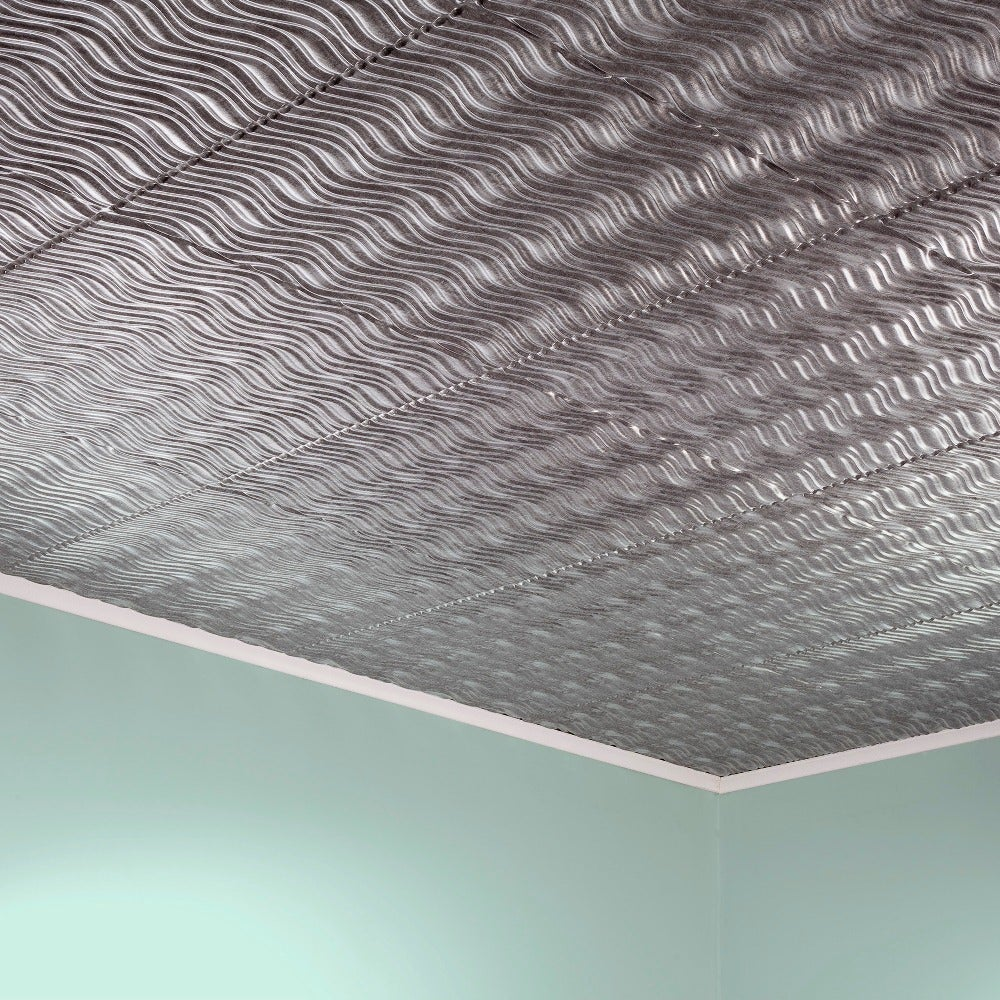Fasade Current Horizontal Crosshatch Silver 2-foot x 2-foot Glue-up Ceiling Tile (2 x 2)