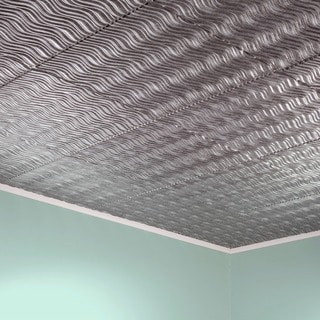Fasade Current Horizontal Crosshatch Silver 2-foot x 2-foot Glue-up Ceiling Tile