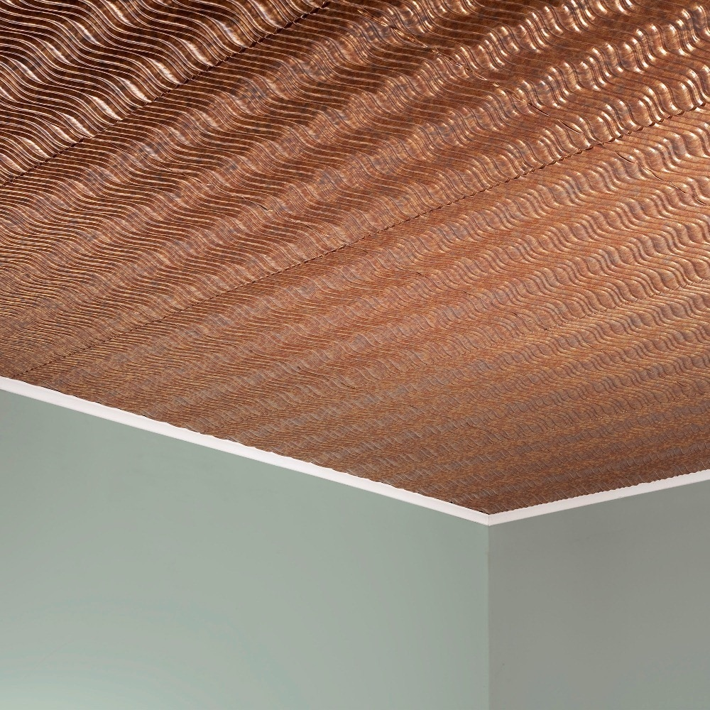 Fasade Current Horizontal Cracked Copper 2-foot x 2-foot Glue-up Ceiling Tile (2 x 2)