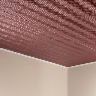 Fasade Current Horizontal Argent Copper 2-foot x 2-foot Glue-up Ceiling Tile