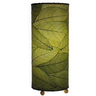 Eangee Cocoa Leaf Green Cylinder Table Lamp , Handmade in Philippines