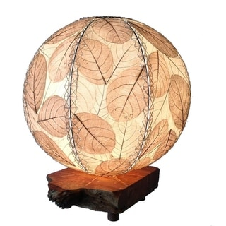 Handmade Eangee Driftwood Natural Orb Table Lamp (Philippines)