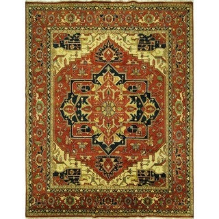 New Elegant Geo-Floral Red Heriz Serapi Hand-knotted Wool Area Rug (11'11 x 14'11)