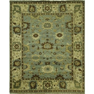 New Traditional Sky Blue Oushak Hand-knotted Wool Oriental Area Rug (7'11 x 10'2)
