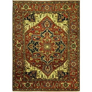 New Traditional Medallion Red Heriz Serapi Hand Kntted Wol Area Rug (9'0 x 12'0)