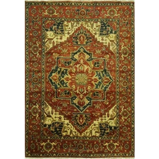 Oriental Floral Heriz Red Serapi Hand-knotted Wool Area Rug (9'0 x 12'7)