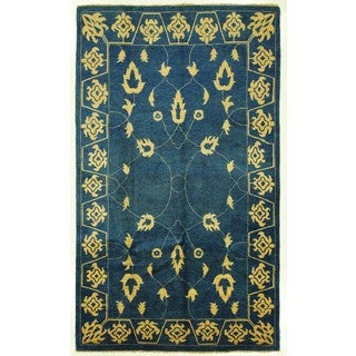 Free Pad Hand-knotted Denim Blue Chobi Style Wool Oriental Area Rug (6'7 x 10'10)