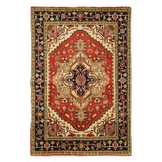 Elegant Red/Navy Blue Heriz Serapi Hand-knotted Wool Floral Area Rug (9'1 x 12'1)
