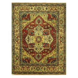 One of a Kind Hand-knotted 12'x16' Red Heriz Serapi Wool Oriental Area Rug (12'0 x 15'7)