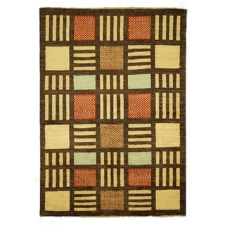 Traditional Hand-knotted Wool Multicolor/Brown Gabbeh Lori Buft Rug (5'8 x 7'10)