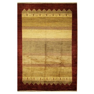 New 100-percent Wool Hand-knotted Veg Dye Ivory/Maroon Border Gabbeh Rug (6'8 x 9'9)