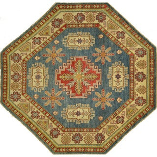 New Geometric Octagon Baby Blue Super Kazak Hand-knotted Wool Area Rug (6'6 x 6'6)